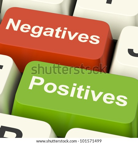 Negatives Positives Computer Keys Shows Plus And Minus Alternatives Analysis And Decisions