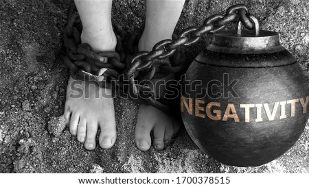 Negativity as a negative aspect of life - symbolized by word Negativity and and chains to show burden and bad influence of Negativity, 3d illustration