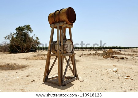 NEGEV, ISRAEL - MAY 14: water supply tower in Mitzpe Revivim Museum in the Negev desert, Israel on May 14 2008. The museum tells the history of Jewish settlements in Negev from 1943 till 1948.