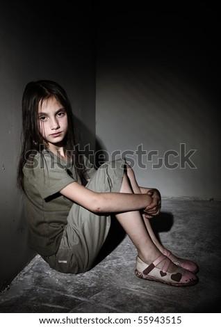 Neglected little girl - stock photo