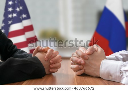 Negotiation of USA and Russia. Statesman or politicians with clasped hands. #463766672