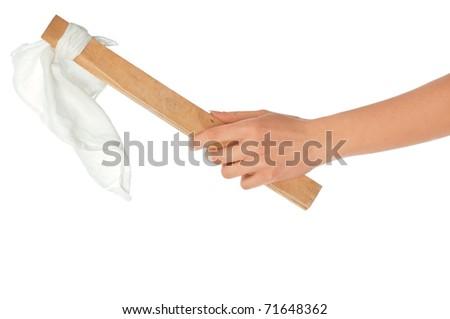 negotiator holding and waving a white flag as a symbol of conciliation