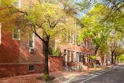 Neighborhood with traditional brick houses, Old city Cultural District, Philadelphia, Pennsylvania, USA