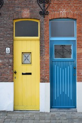 Neighbours with two cute doors at Bruges - Belgium