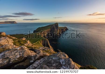 Neist Point Lighthouse, Isle of Skye, Scotland at sunset