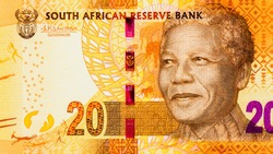 Nelson Rolihlahla Mandela. Portrait from South Africa 20 Rand 2012 Banknotes. An Old paper banknote, vintage retro. Famous ancient Banknotes. Collection.