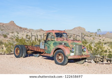 NELSON , USA - NOV 25 : Old rusty truck in Nelson Nevada ghost town on November 25 ,2012