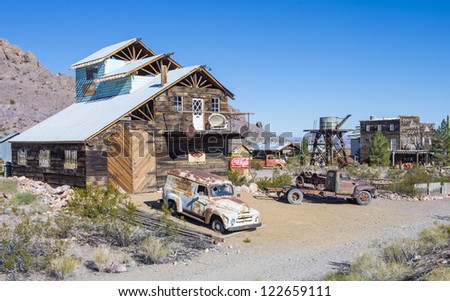 NELSON , USA - NOV 25 : Old wooden houses and rusty old cars in Nelson Nevada ghost town on November 25 ,2012