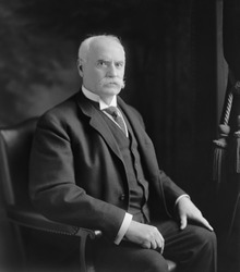 Nelson W. Aldrich 1841-1915 Republican Senator from Rhode island from 1881-1911 supported business interests and protective tariffs. Daughter married John D. Rockefeller Jr. Ca. 1900.