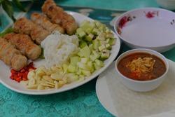 Nem Nuong (Grilled Pork Sausage), Vietnamese Cuisine in Bangkok, Thailand, Asia