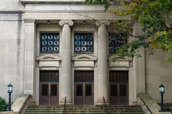 neo-classical performing arts building front entrance at university campus in milwaukee wisconsin