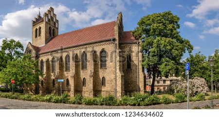Neo-gothic church at the historical village center of Berlin-Marzahn - Panorama from 4 pictures