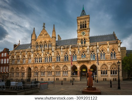 Neo Gothic style architecture of Northampton Guildhall building located in the city centre of Northampton, England.