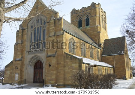 Neo gothic style church architecture in Saint Paul\'s west side neighborhood