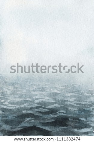 Neo-noir landscape. Blue river / lake / sea / ocean in fog - hand drawn watercolor painting in minimalist style. Pre-made scene, background.