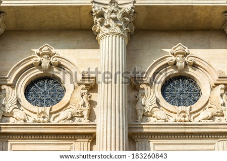 Neoclassical Architecture Symmetry Detail With Corinthian Column