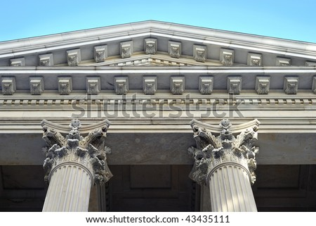 Neoclassical architecture with columns from the City Hall in New York City
