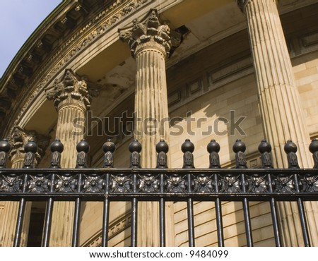 Neoclassical columns on Central Library Liverpool Uk built in 1875