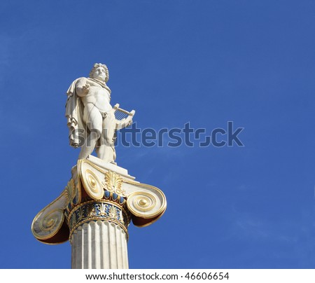 Neoclassical statue of ancient Greek god of the sun, Apollo, outside the Academy of Arts in Athens, Greece, with copyspace.