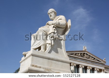 Neoclassical statue of ancient Greek philosopher Plato outside Academy of Arts of Athens, Greece.