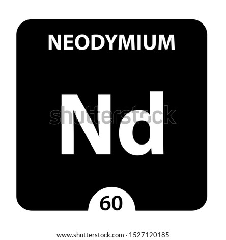 Neodymium symbol. Sign Neodymium with atomic number and atomic weight. Nd Chemical element of the periodic table on a glossy white background. Experiments in the laboratory. science ant technology