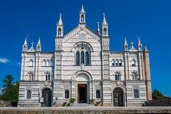 Neogothic Sanctuary of Nostra Signora di Montallegro at the top of a hill over the village of Rapallo in the italian Riviera