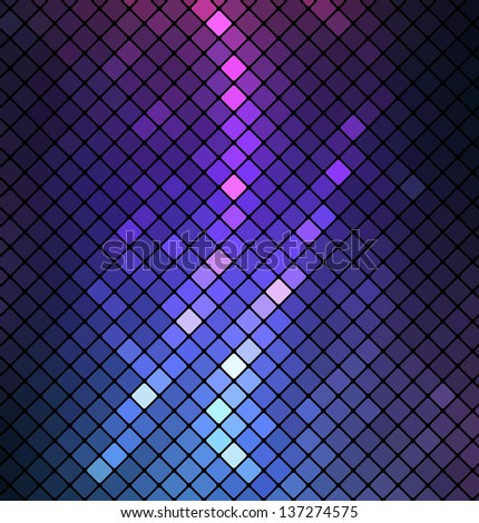 Neon abstract mosaic design on dark background