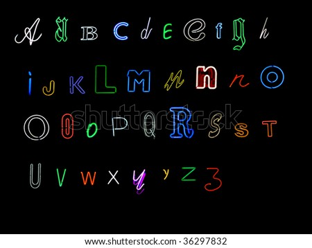 neon alphabet letters, A to Z