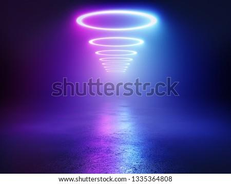 Neon background concept. Disco neon light background. 3d rendering.