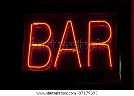 Neon bar sign in New York City