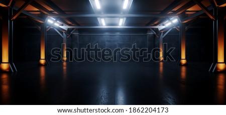 Neon Blue Orange Spaceship Led Industrial Realistic Sci Fi Futuristic Modern Hangar Car Parking Underground Garage Warehouse Hallway Steel Concrete Cement 3D Rendering  Illustration
