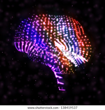 Neon brain, abstract illustration, composition bright elements.