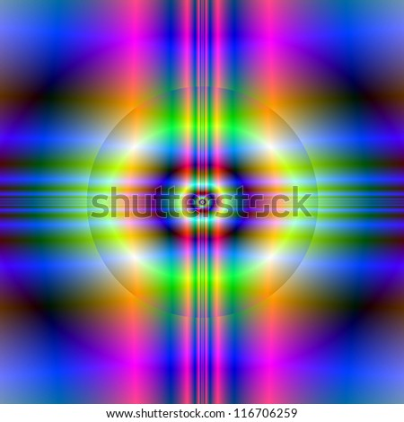 Neon Circular Cross/Digital fractal image with an abstract cross with circle psychedelic design in green, pink and blue.