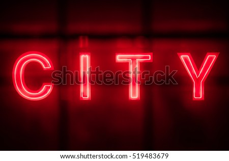 Neon city sign #519483679