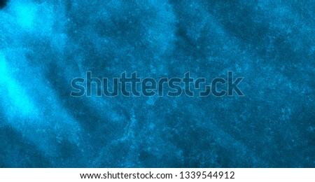Neon cosmic paper textured light blue watercolor background. Deep black ink canvas for modern creative design. Aquarelle lightning night sky and thunder storm texture  water color paint illustration #1339544912