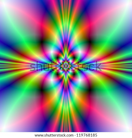 Neon Cross/Digital abstract image with a neon cross design in blue, green and pink.