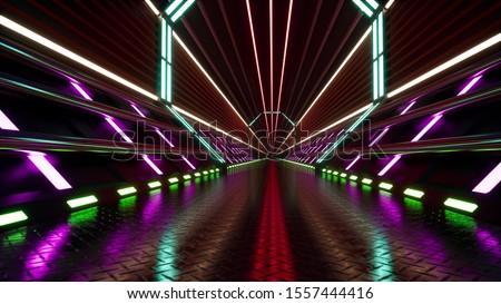 Neon cyberspace tunnel 3d render
