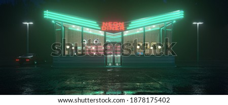 Neon diner and retro car late at night. Fog, rain and colour reflections on asphalt. 3d illustration Сток-фото ©