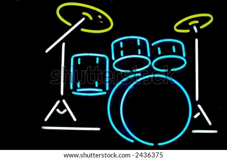 Neon Drums Music Sign