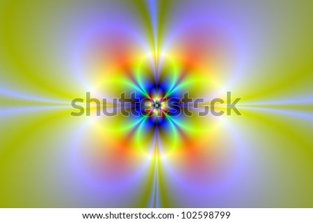 Neon Flower/Digital abstract image with a neon flower design in yellow, green, lilac and blue. - stock photo