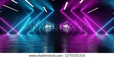 Neon Fluorescent Laser Led Psychedelic Garage Elegant Futuristic Sci Fi Modern Dark Empty Room With Tiled Metal Floor And Roof With Led Lights And Purple And Blue Glowing Light Rays 3D Rendering