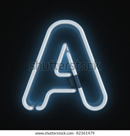 neon font letter a