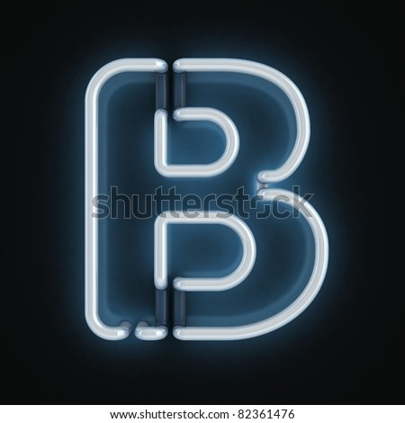 neon font letter b - stock photo