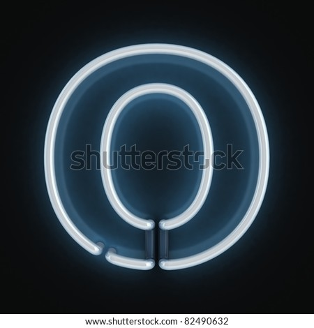 neon font letter o - stock photo