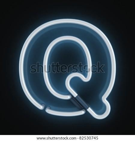neon font letter q