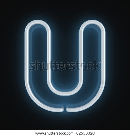 neon font letter u