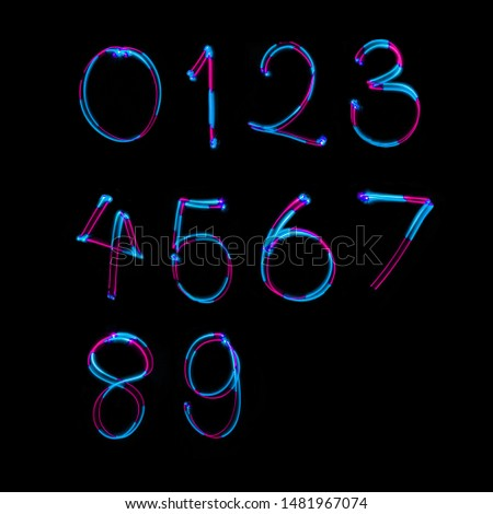 Neon font number colorful glowing Alphabet, Light Painting Alphabet slow speedshutter. #1481967074