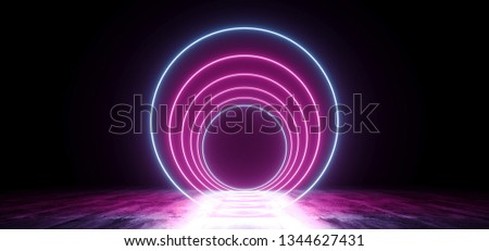 Neon Futuristic Background Cyber Retro Purple Pink Blue Ultraviolet Vibrant Glowing Circle Shaped Fluorescent Luminous Elegant Alien Dance Stage Gallery Lights 3D Rendering Illustration