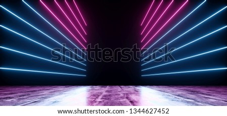 Neon Futuristic Background Cyber Retro Purple Pink Blue Ultraviolet Vibrant Glowing Horizontal Lines Shaped Fluorescent Luminous Elegant Alien Dance Stage Gallery Lights 3D Rendering Illustration