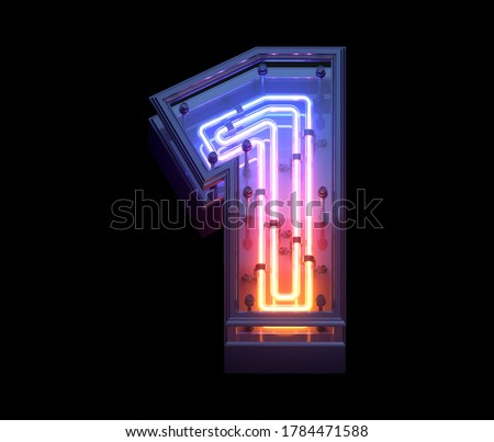 Neon Game font. 3d rendering Photo stock ©